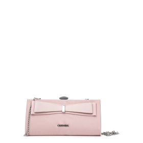 Clutch bag with large contrasting colour bow