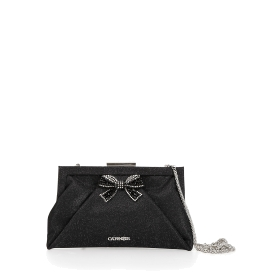 Clutch bag with flowers and rhinestones