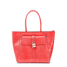 """Mock crock shopping bag with outer """"lock&key"""" accessory"""