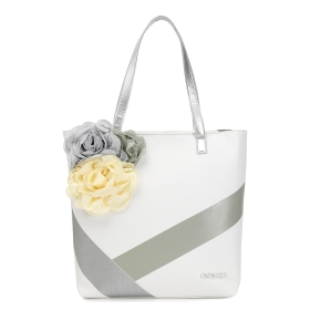 Shopping bag with 3D flowers and stripes