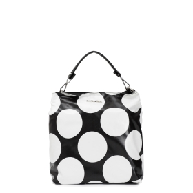 Shopping bag with underglass effect fabric and large polka dot printing
