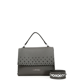 Satchel with conical studs and decorative strap