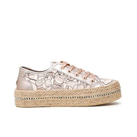Lace sneakers with rope soles