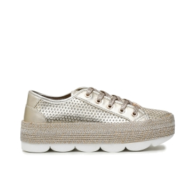 Patent faux leather sneakers with wave tread