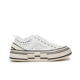 Frayed canvas sneakers with rhinestones