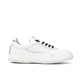 Colour block leather sneakers with micro perforated inserts and contrasting laces