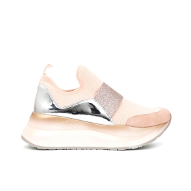Stretch rhinestone slip-on shoes with shaded sole