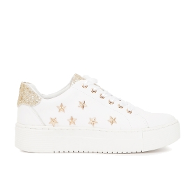 Leather sneakers with pearls