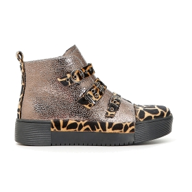 Tall patent sneakers with animalier buckles