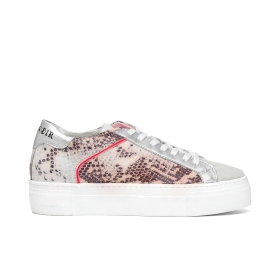 Leather trainers with python print