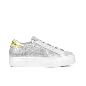 Patent leather trainers with chequered print