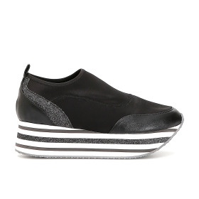 Stretch slip-on shoes with striped maxi soles
