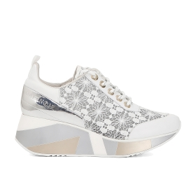 Lace sneakers with decorated wedge