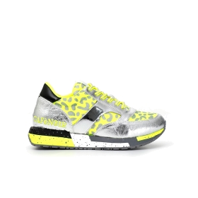 Patent faux patent leather sneakers with fluorescent Lycra animal print motif