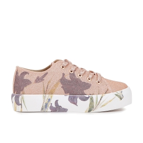 Glitter sneakers with flower tattoo