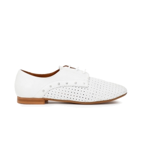 Nappa leather brogues with perforations and rhinestones