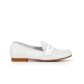 Woven leather moccasins