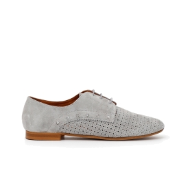 Suede brogues with perforations and rhinestones