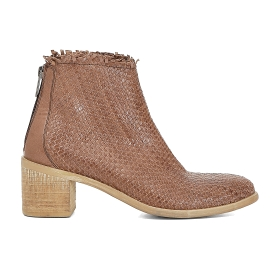 Woven ankle boots with zip