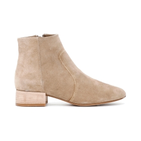 Suede ankle boots with side zipper
