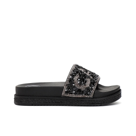 Slip-on shoes with multi-rhinestones and lettering