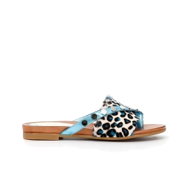 Leather flip-flops with animal print pony hair and studs