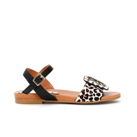 Leather Gilda sandals with animal print pony hair