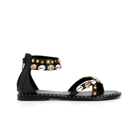 Leather studded flip-flops with zipper on heel