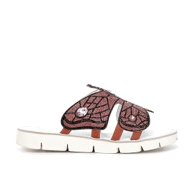 Slip-on shoes with glitter butterfly