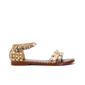 Python print leather Jesus sandals with caged heel and studs