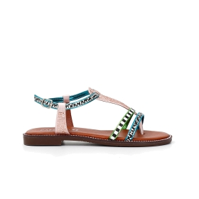 T-bar sandals with rhinestones in multi-colour ethnic style
