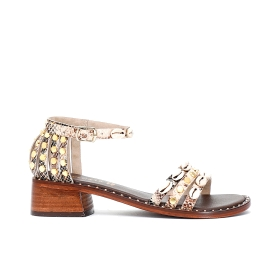 Printed leather Jesus sandals with caged heel and studs and shells