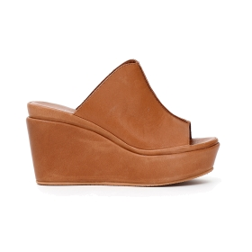 Leather slip-on shoes with wedge bottom