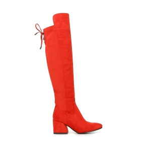 Microfibre long boots with rear lacing