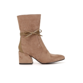 Microfibre ankle boots with removable ankle strap