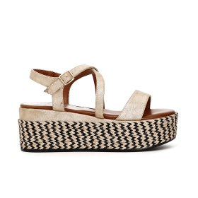 Imitation leather sandals with woven wedge
