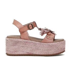 T-bar sandals with leather flower