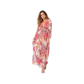 Patterned long dress with flounces