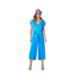 Satin effect jumpsuit with v-cut front