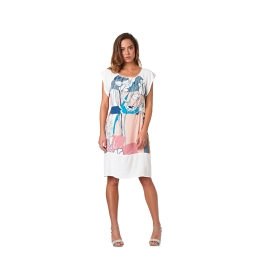Patterned dress with flounce