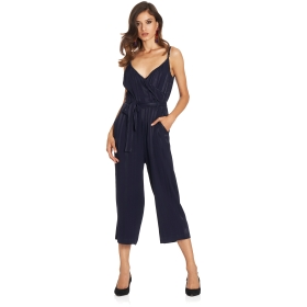 Jumpsuit with crossover neckline and matching sash waist