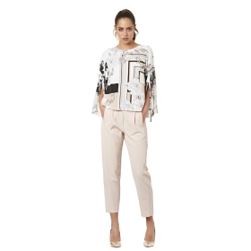 Patterned blouse with flared sleeves