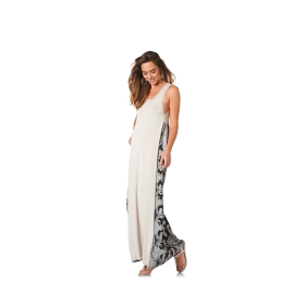 Long jersey dress with patterned back