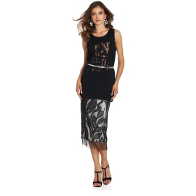 Knee-length skirt with lace and tassels
