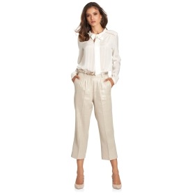 Regular-fit trousers with Lurex double fold-over