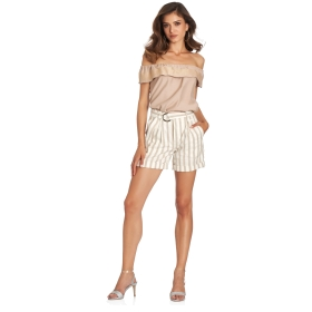 Cotton blend striped fabric shorts