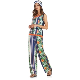 Stretch palazzo pants with printed motif