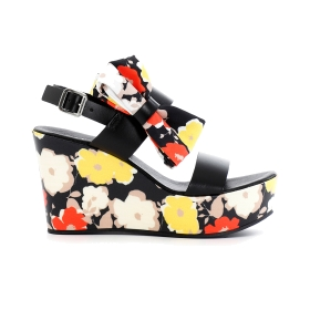 Two-strap Jesus sandals with floral wedge and bow