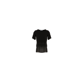 Dual-fabric t-shirt with lace