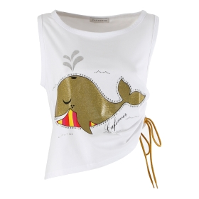 T-shirt with whale print drawstring